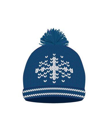 Blue knitted winter hat. vector illustration