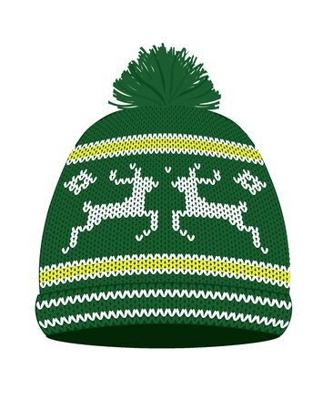 Green knitted winter hat. vector illustration Ilustrace