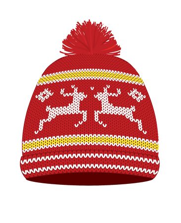Red  knitted winter hat. vector illustration