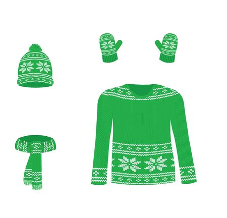Green winter knitted set. vector illustration Ilustrace