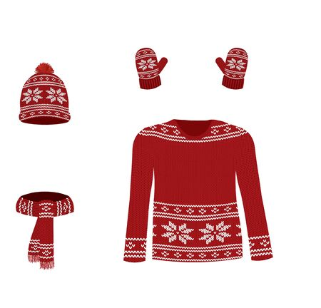 Red winter knitted set. vector illustration Ilustrace