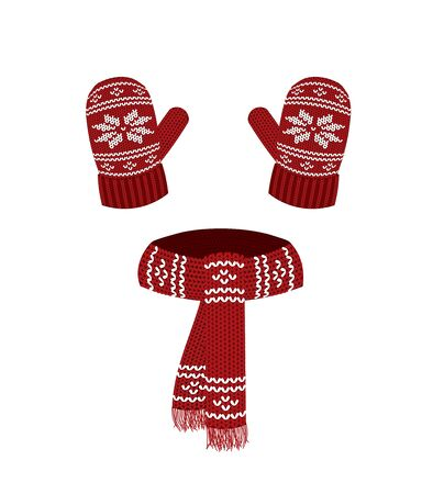 Red knitted scarf and gloves. vector illustration