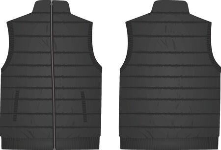 Black vest, front and back view, vector illustration Illustration