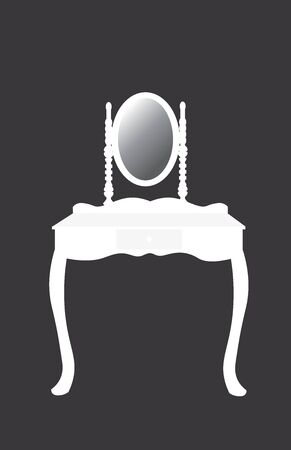 White silhouette of dressing table with mirror, vector Ilustração