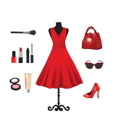 Woman set. bag, dress, glasses, shoes and cosmetics. vector illustration