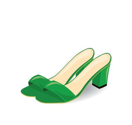 Green sandals with open back, vector Ilustração