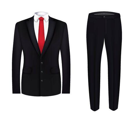 Cravatta rossa, camicia bianca e completo nero. avvicinamento. vettore