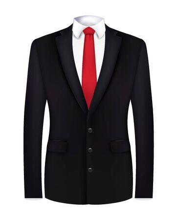 Corbata roja, camisa blanca y traje negro. de cerca. vector