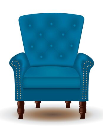 Blue elegant quilted chair with wooden legs, vector Иллюстрация