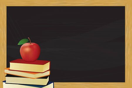 Chalkboard with books and apple. vector illustration