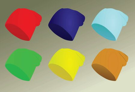 Colorful winter hats set. vector illustration