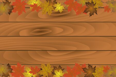 Autumn background with wooden planks. vector illustration