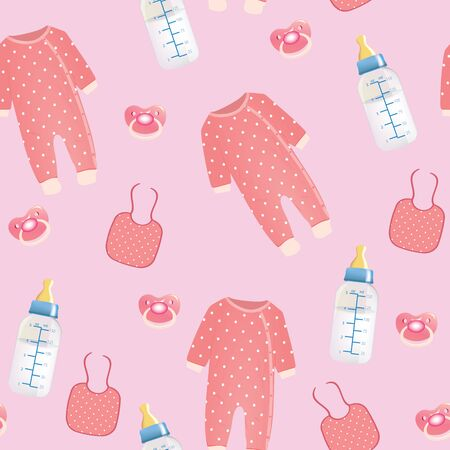 Baby stuff seamless pattern. vector illustration