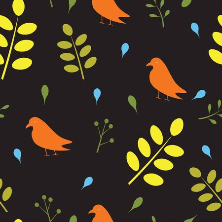 Seamless pattern with birds and leaves, vector