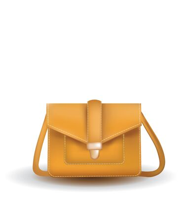 Brown hand bag. vector illustration