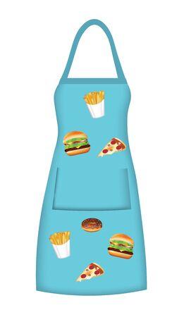 Blue apron with fast food pattern, vector Ilustração