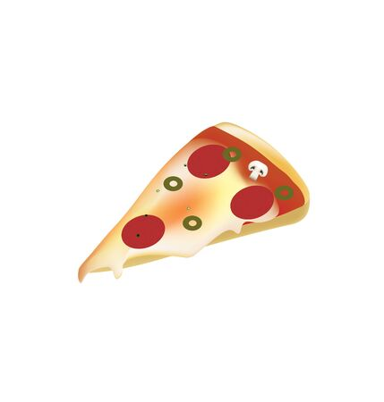 Pizza slice on white background, vector Ilustração