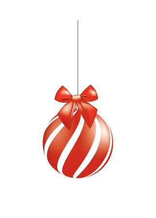 Red Christmas ball with bow, vector Ilustração