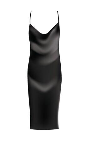 Black silk sleep dress, vector Ilustração