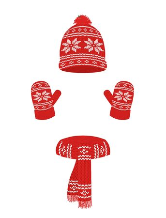 Winter knitted set, cap, scarf and gloves, vector