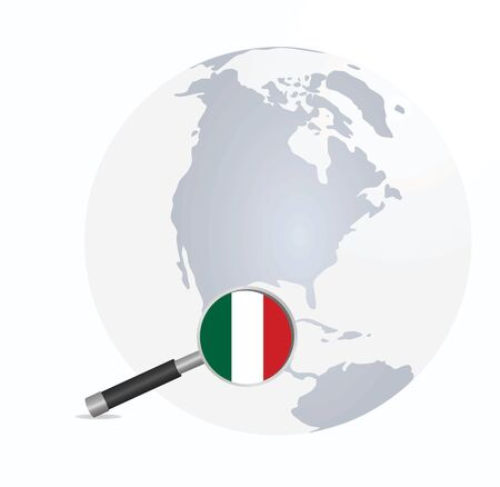 Mexico  flag in magnifying glass. vector illustration