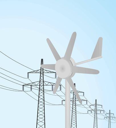Small windmill turbine. vector illustration