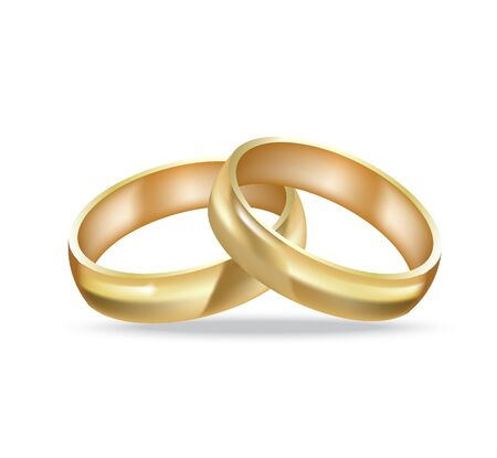 Two golden rings, realistic vector