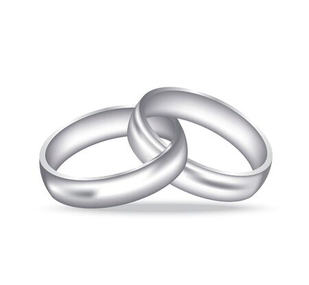 Two silver rings, realistic vector Illustration
