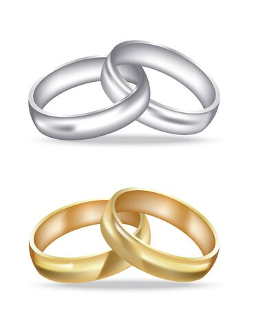 Two golden and silver rings, realistic vector