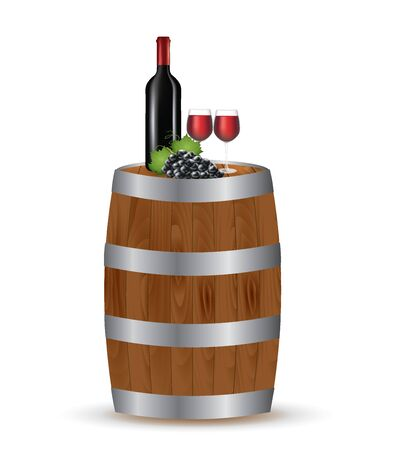 Wine bottle with glasses and grapes on wooden barrel. vector