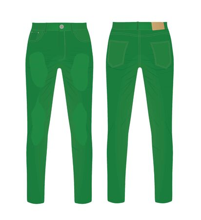 Green denim pants. vector illustration