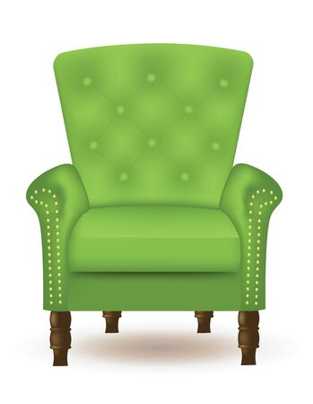 Green elegant quilted chair with wooden legs, vector