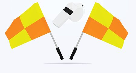 Soccer referee flags and whistle. vector illustration