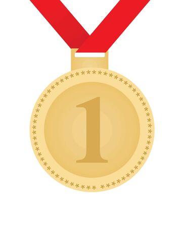 Gold medal with ribbon. vector illustration Vector Illustratie