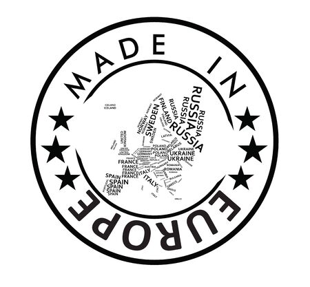 Made in Europe stamp. vector