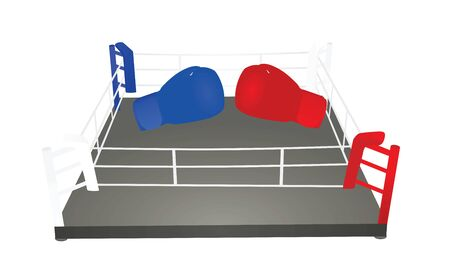 Boxing ring and gloves. vector illustration