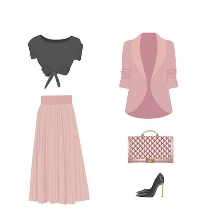 Woman clothing set with shoes and handbag, vector 일러스트
