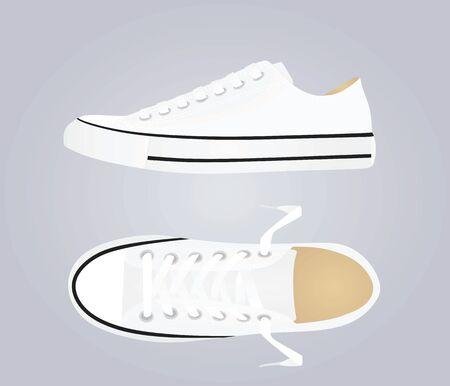 White canvas snickers. vector illustration Иллюстрация