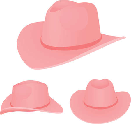 Pink cowboy hat on white 矢量图像