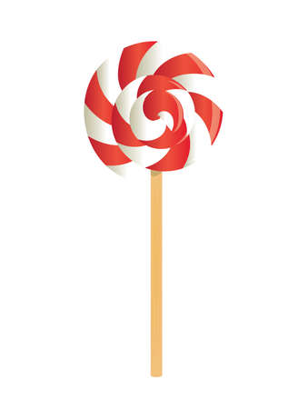 Swirl red and white lollipop. vector