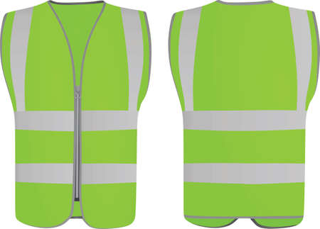 Green safety vest. vector illustration