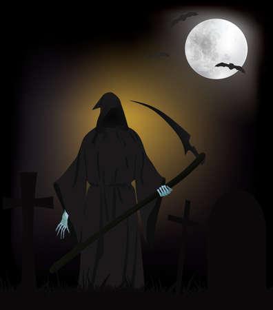 Grim Reaper on cemetery, vector