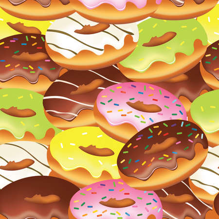 Donuts seamless pattern, vector
