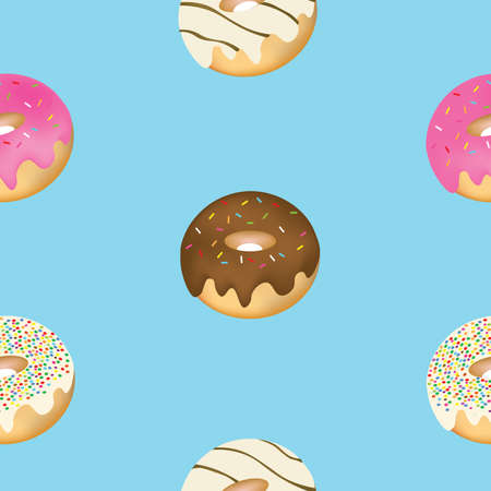 Seamless donuts pattern, vector