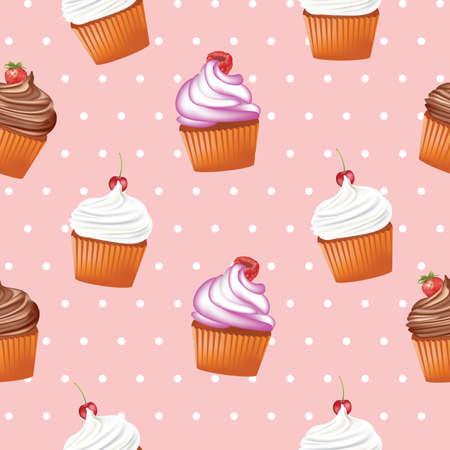 Seamless cupcake pattern, vector