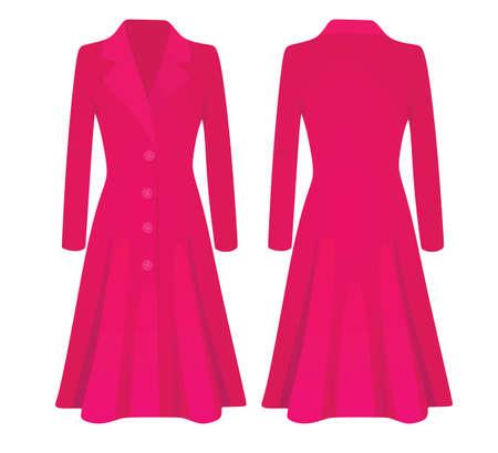 Woman pink coat. vector illustration 矢量图像