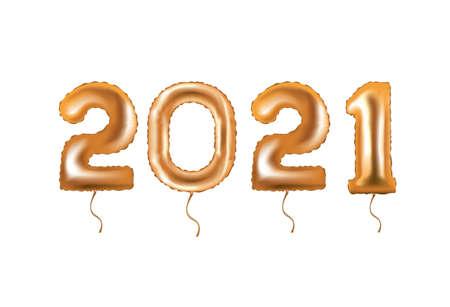 2021 golden foil balloon. vector