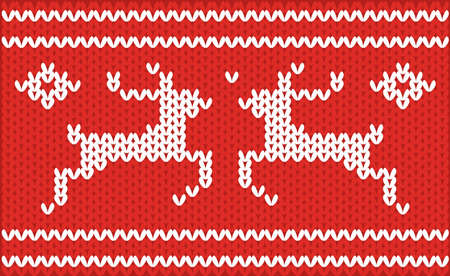 Nordic knitted pattern with deer. vector illustration