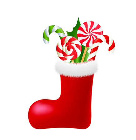 Christmas socks with candies. vector 矢量图像
