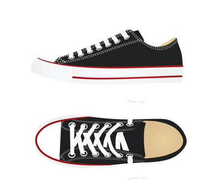 Black canvas sneakers. vector illustration  イラスト・ベクター素材